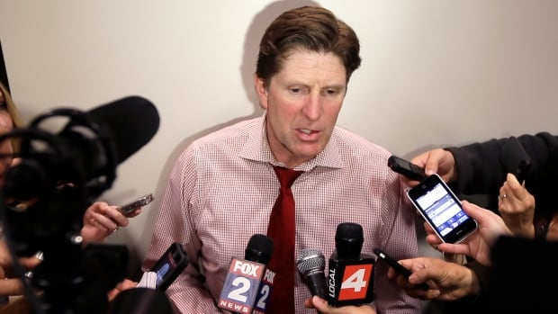 Detroit Red Wings head coach Mike Babcock addresses the media at Joe Louis Arena on Tuesday.