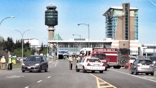 The gas leak was reported at North Service Road and Aviation Avenue. Officials say there is no danger to the public and YVR operations continue as normal.