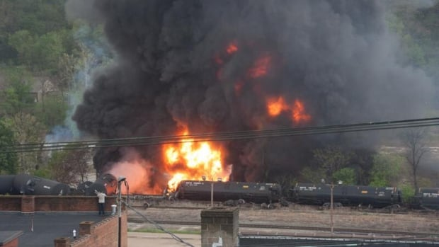 At least seven tank cars hauling flammable liquids derailed in Lynchburg, VA on Wednesday, this photo by city authorities shows.