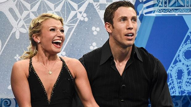 Canada's Kirsten Moore-Towers, left, and Dylan Moscovitch are splitting up almost three months after helping Canada win an Olympic silver medal in the team event.