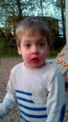 Dayton Barratt, 2, pepper-sprayed - red face