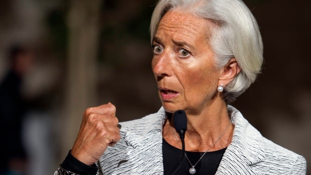 International Monetary Fund (IMF) Managing Director Christine LaGarde makes a statement about sanctions levelled against Russia, following a board meeting at IMF Headquarters in Washington on Wednesday. LaGarde announced that the IMF board has approved a two-year, $17 billion US loan package for Ukraine, amid geopolitical risks