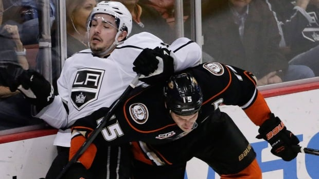 Center Ryan Getzlaf, right, and the Ducks won four of the five meetings against defenceman Drew Doughty, left, and the Kings. They'll play Game 1 of their Western Conference semifinal on Saturday night in Anaheim. It's the first time the teams have faced each other in a playoff series in 20 years.