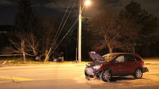 This is one of the cars involved in a three-vehicle collision late Thursday. One driver is facing charges and police say alcohol was a factor in the crash.