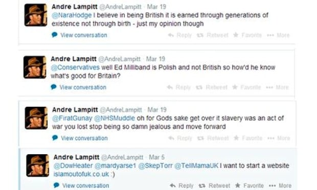 Tweets by suspended Ukip member Andre Lampitt