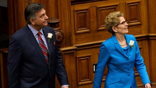 Ontario Finance Minister Charles Sousa, left, enters the legislature next to Premier Kathleen Wynne before delivering the 2014 budget at Queen's Park Thursday. On Friday, NDP leader Andrea Horwath announced her party wouldn't support Wynne's budget, a move that means Ontarians are likely heading back to the polls this spring.