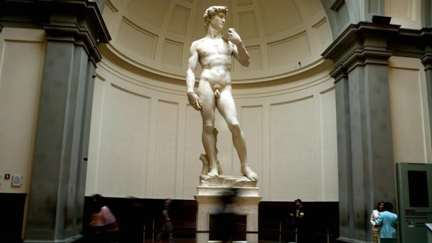 Michelangelo's iconic marble statue David is seen in Florence's Galleria dell' Accademia.