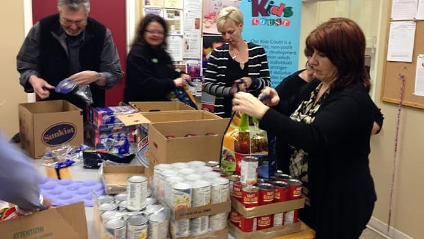 Thunder Bay volunteers bag food for children to take home to their families on the weekend. Blessings in a Backpack was founded in the United States in 2005. The program came to Canada in 2008. Canada is one of the only developed countries in the world without a national meal program for children in schools.