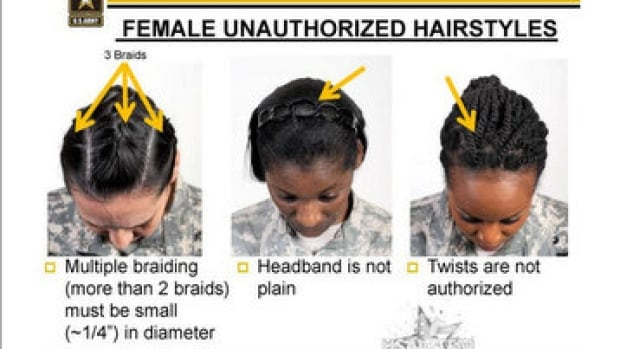 These are examples of unauthorized hairstyles in the U.S. army. The photos are taken from a policy training presentation.