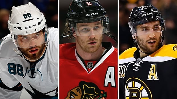 From left to right, Brent Burns, Duncan Keith, and Patrice Bergeron were announced on Friday as the three nominees for the NHL foundation player award.