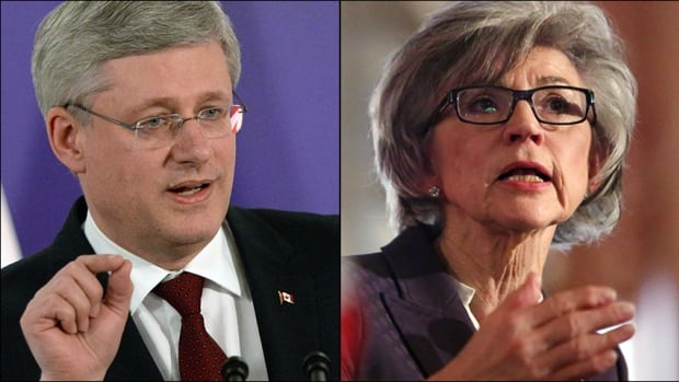 Prime Minister Stephen Harper, left, and Chief Justice Beverly McLachlin. Harper has suggested McLachlin acted improperly by letting the government know there might be a problem with a case that could one day come before her court.