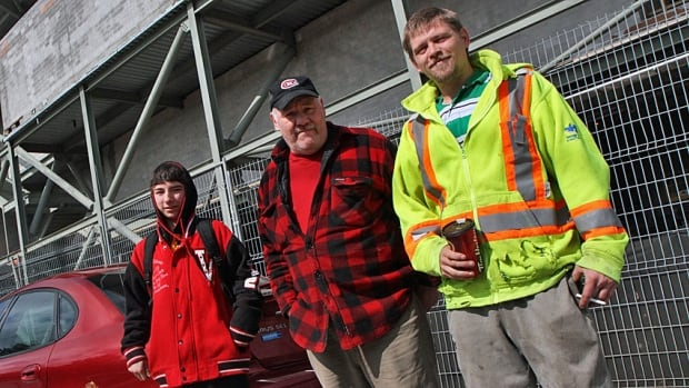 Stadium precinct residents Chris Hobbs (right) Pete Roth (middle) and Tyler Cassie (left) all say the construction of the new Tim Horton's Field at the former Ivor Wynne Stadium site is causing problems in their east end neighbourhood.
