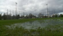 Wet baseball field closed Ottawa