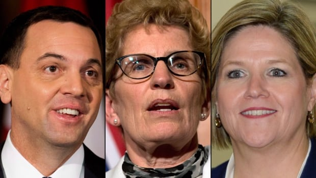 From left to right, Ontario Progressive Conservative leader Tim Hudak, Ontario Liberal Party leader Kathleen Wynne and NDP leader Andrea Horwath.
