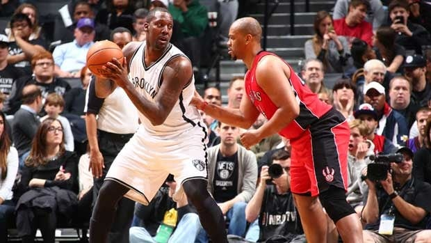 Andray Blatche, left, has averaged five rebounds and nearly seven points per game coming off the bench for Brooklyn in the series against Toronto.