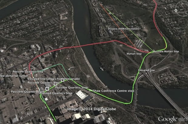 Map of the city's Valley LRT line and proposed alternate route