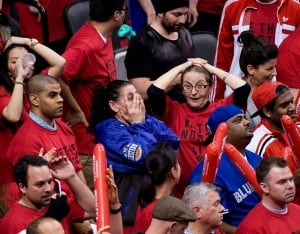 Raptors fans react during Game 7