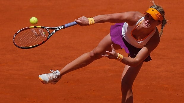 Canada's Eugenie Bouchard was eliminated from the Madrid Open by Agnieszka Radwanska of Poland Monday.