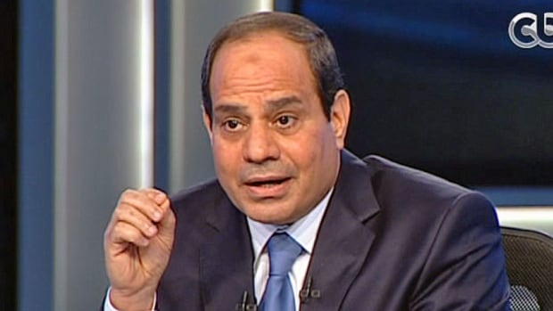 Egypt's retired Field Marshal Abdel-Fattah el-Sissi listens to a question during an interview in a nationally televised program in Cairo on May 5, in his first speaking TV interview of his presidential campaign.