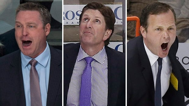 From left, Colorado's Patrick Roy, Detroit's Mike Babcock, and Tampa Bay's Jon Cooper are up for the Jack Adams Award as the top coach in the NHL.