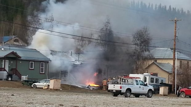 A home on 7th Avenue in Dawson City appears to be completely destroyed after a fire Tuesday morning.