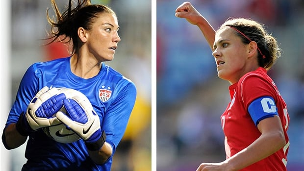 American goalkeeper Hope Solo, left, had nothing but praise for Canadian soccer star Christine Sinclair, right, on Tuesday in Winnipeg.