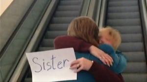 Sisters embrace