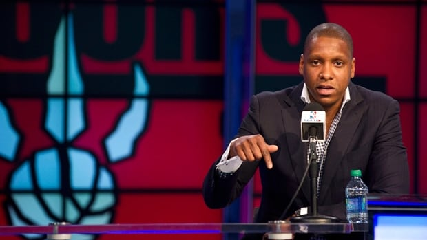 Toronto Raptors president and general manager Masai Ujiri talks to reporters at Tuesday's season-ending media conference.