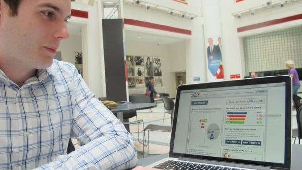 Cliff Van der Linden, CEO and founder of Vox Pop Labs, demonstrates CBC's Vote Compass tool, developed for next month's Ontario election. The online tool helps voters gauge where they stand on the big issues.