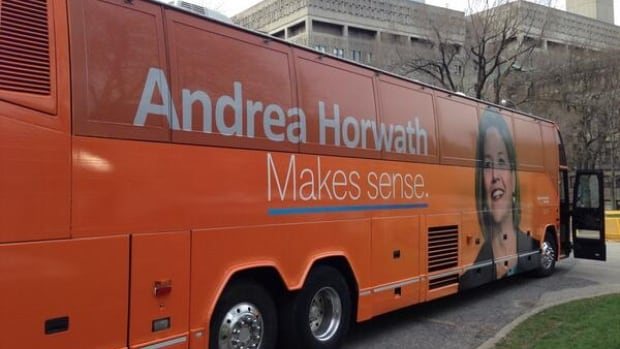 Andrea Horwath's campaign bus. Journalists are kicking around nicknames, but Easy Rider appears to be an early contender. It's an apparent reference to the quality of food served.