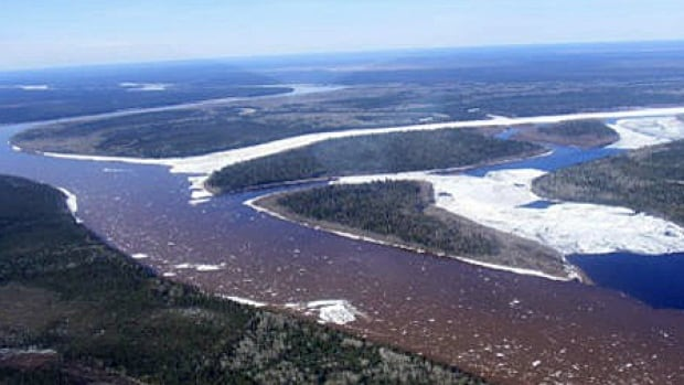 The Albany River and Kenogami River confluence. Hundreds of people on the James Bay Coast are being airlifted out as swelling rivers threaten communities.