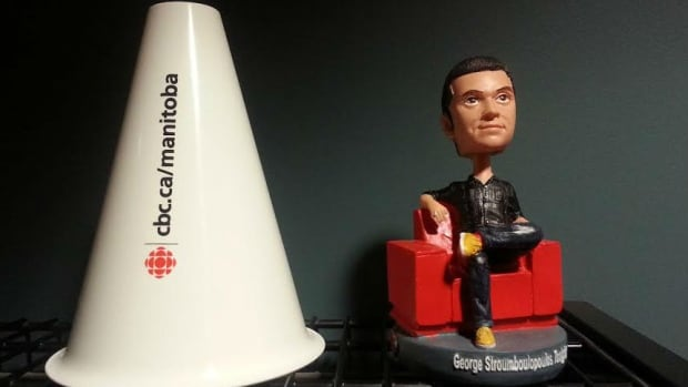 These are just a few of the special items that CBC is letting go...including a one of a kind George Stroumboulopoulos bobblehead. CBC is taking these souvenirs out to the curb  - in honor of Giveaway Weekend.  Join Information Radio host Marcy Markusa after 8 a.m. on Friday May 9, just outside the CBC building at 541 Portage Avenue.