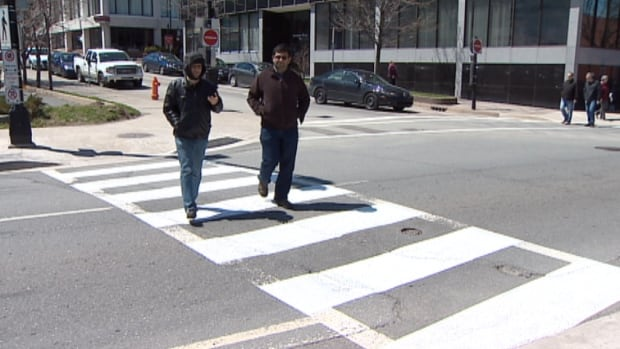 The first crosswalks in the Halifax area were painted with white zebra stripes earlier this month.