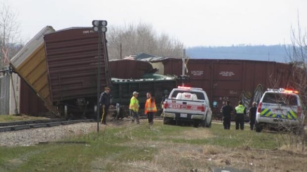 A train derailed in Slave Lake Thursday afternoon, just off Main Street.