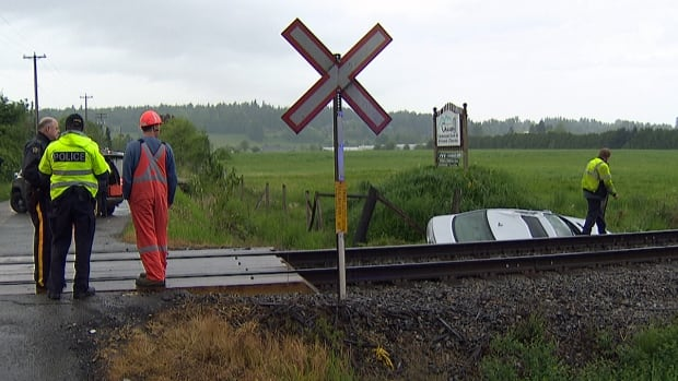 Langley RCMP says the 49-year-old woman driving this car hit a train at the intersection of 216 Street and Glover Road in Langley,B.C. after failing to stop at this railway crossing.