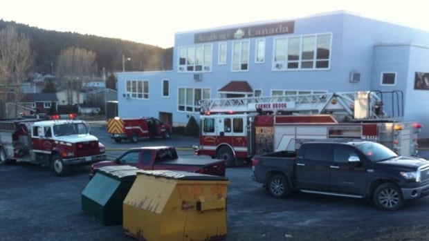 Manny March took this photo Thursday evening as fire crews extinguished a blaze at Academy Academy's building in Corner Brook.