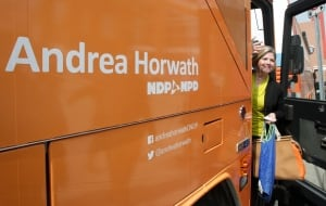 Andrea Horwath campaigns in London