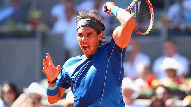 Rafael Nadal of Spain plays a forehand in his quarter-final win over Tomas Berdych.