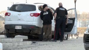 Man arrested after stolen SUV crashes onto steps of Saint John Law Courts building