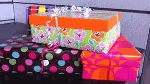 Some of the colourful shoeboxes being delivered to women's shelters for Mother's Day