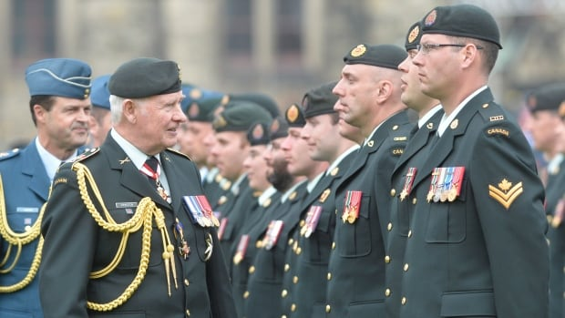 Gov. Gen. David Johnston inspects a guard of honour on Parliament Hill in Ottawa in May 9. A bill working its way through Parliament would give priority to veterans seeking to make the transition to the public service, but one advocate is criticizing the lack of available jobs.
