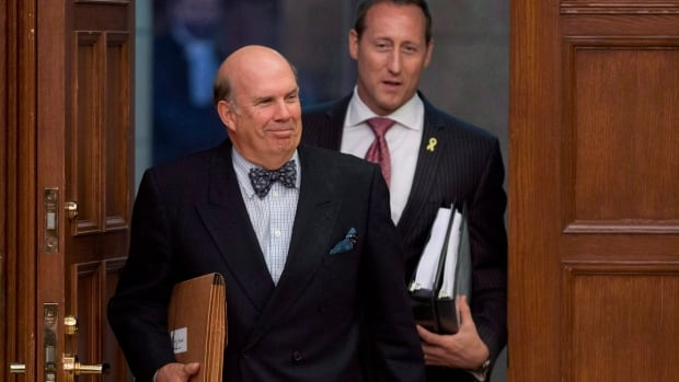 Justice Marc Nadon with Minister of Justice Peter MacKay following Nadon's nomination to the Supreme Court of Canada. He was found not eligible by the court to represent Quebec.