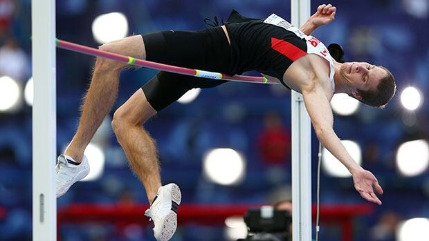 Derek Drouin, shown here at last year's world championships in Moscow, jumped 2.37 metres Friday in Doha, just shy of his own Canadian record.