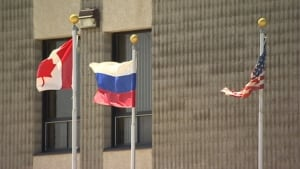 Russian flag at Buhler Industries