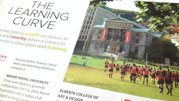 A photo labelled as the SAIT campus in a magazine to promote Calgary is actually a photo of McGill University in Montreal.