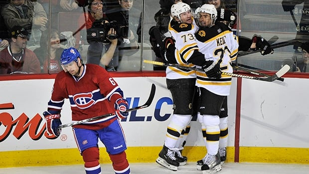Former Montreal Canadiens defender Jaroslav Spacek, shown here in his last playoff battle against the Bruins with the Habs in 2011, is now coaching for the Czech Repubic at the IIHF hockey worlds.