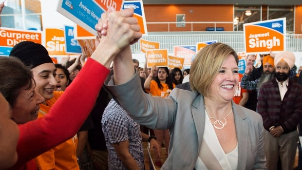 Ontario NDP Leader Andrea Horwath greets supporters during a campaign stop in Brampton, Ont. on Saturday.