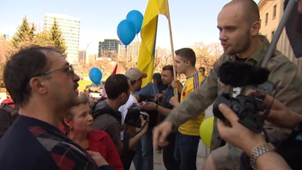 Tempers flared between members of the Ukrainian and Russian-speaking communities at the Legislative building Saturday.