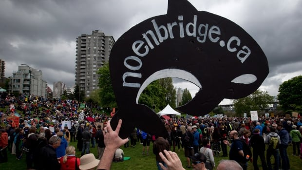 A protester holds up a sign shaped like an orca whale during a demonstration against the Enbridge Northern Gateway Pipeline in Vancouver, B.C., on Saturday May 10, 2014. Protests were held in cities across Canada Saturday in opposition to the proposed pipeline that would carry Alberta oil 1,200-kilometres across Alberta and British Columbia to the northwest coast community of Kitimat, where the oil will be shipped overseas by oil tankers.