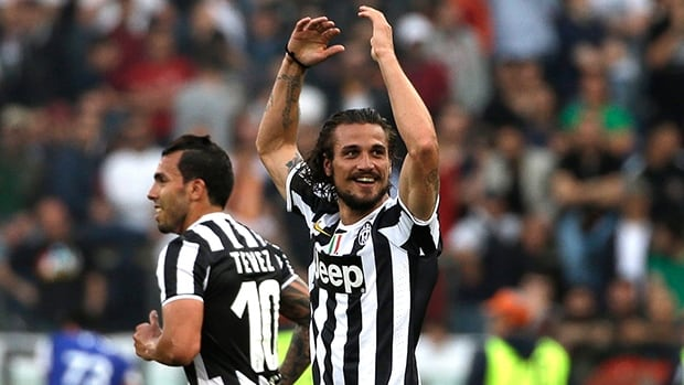 Juventus forward Pablo Daniel Osvaldo celebrates after scoring against Roma and on Sunday. Juventus won 1 - 0.